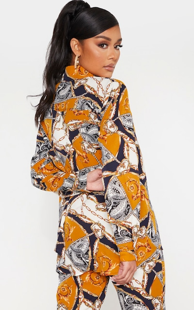 Brown Scarf Print Oversized Shirt
