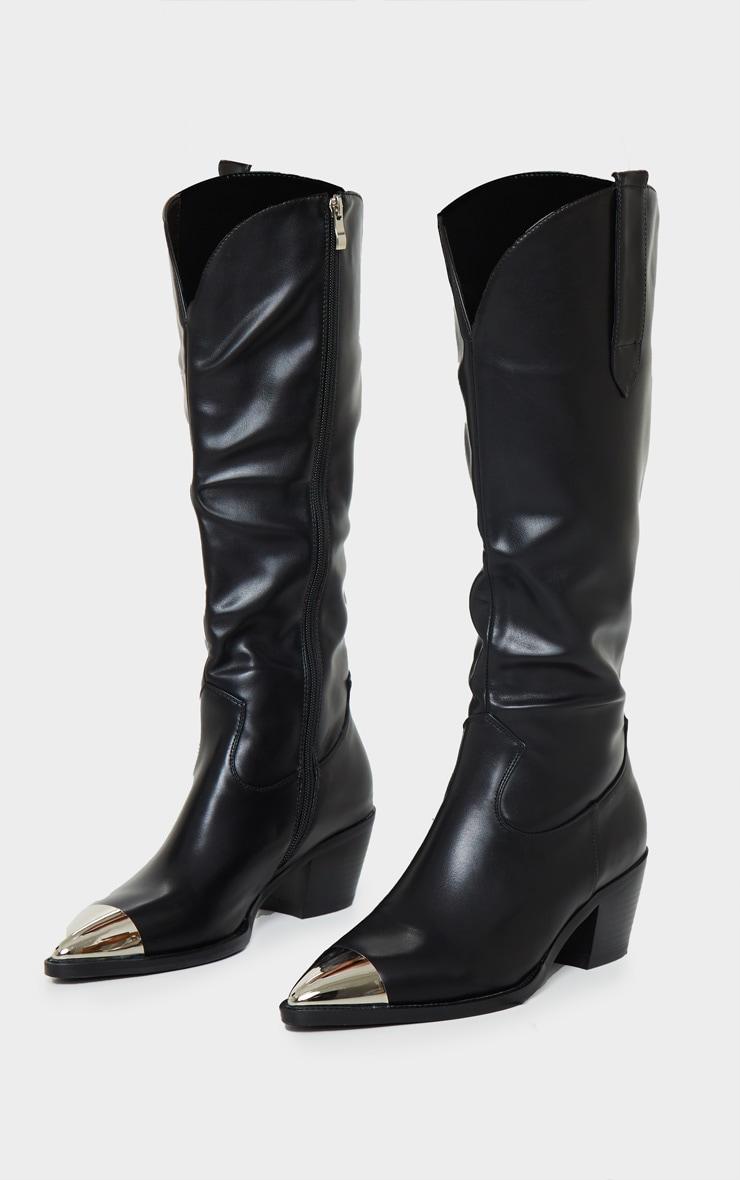 Black Metal Toe Calf Western Boot 4