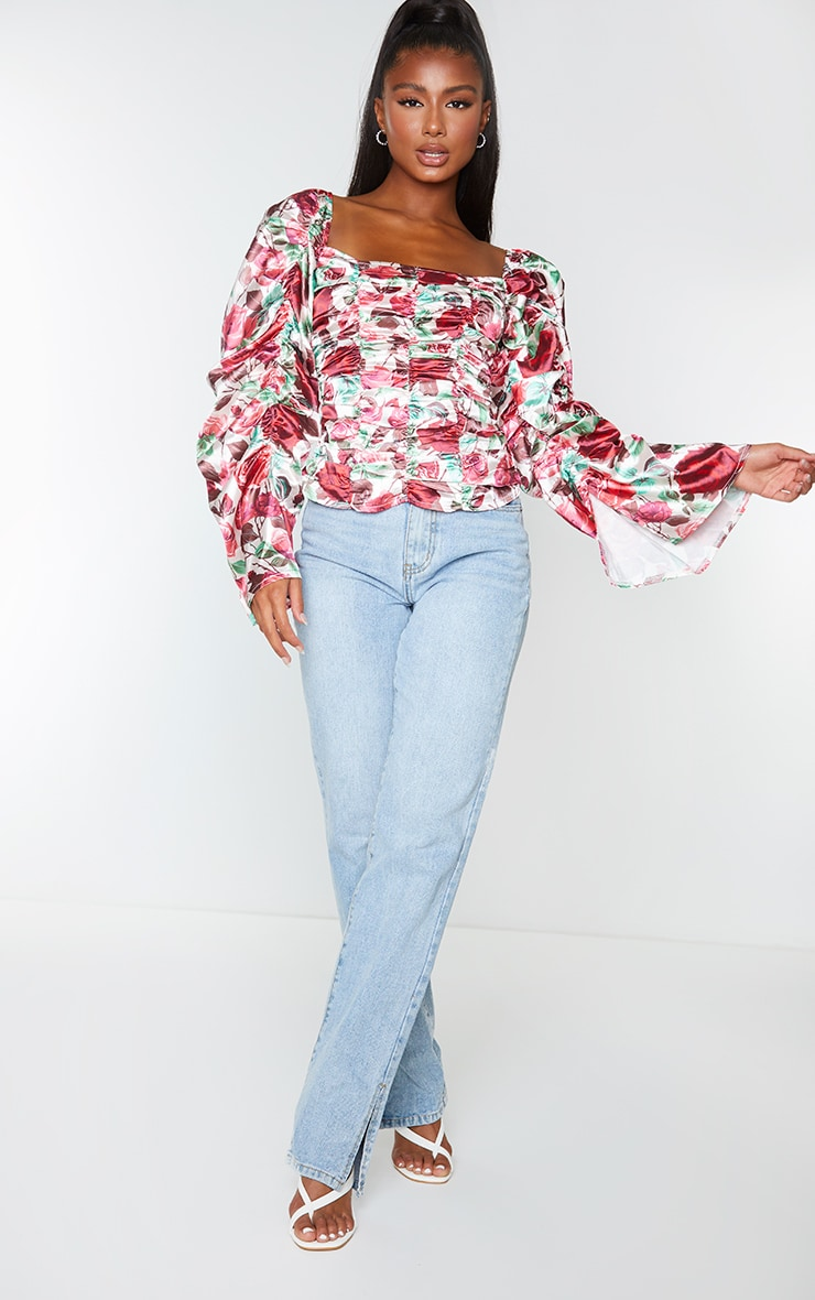 Red Floral Printed Woven Ruched Front Puff Sleeve Crop Top 3