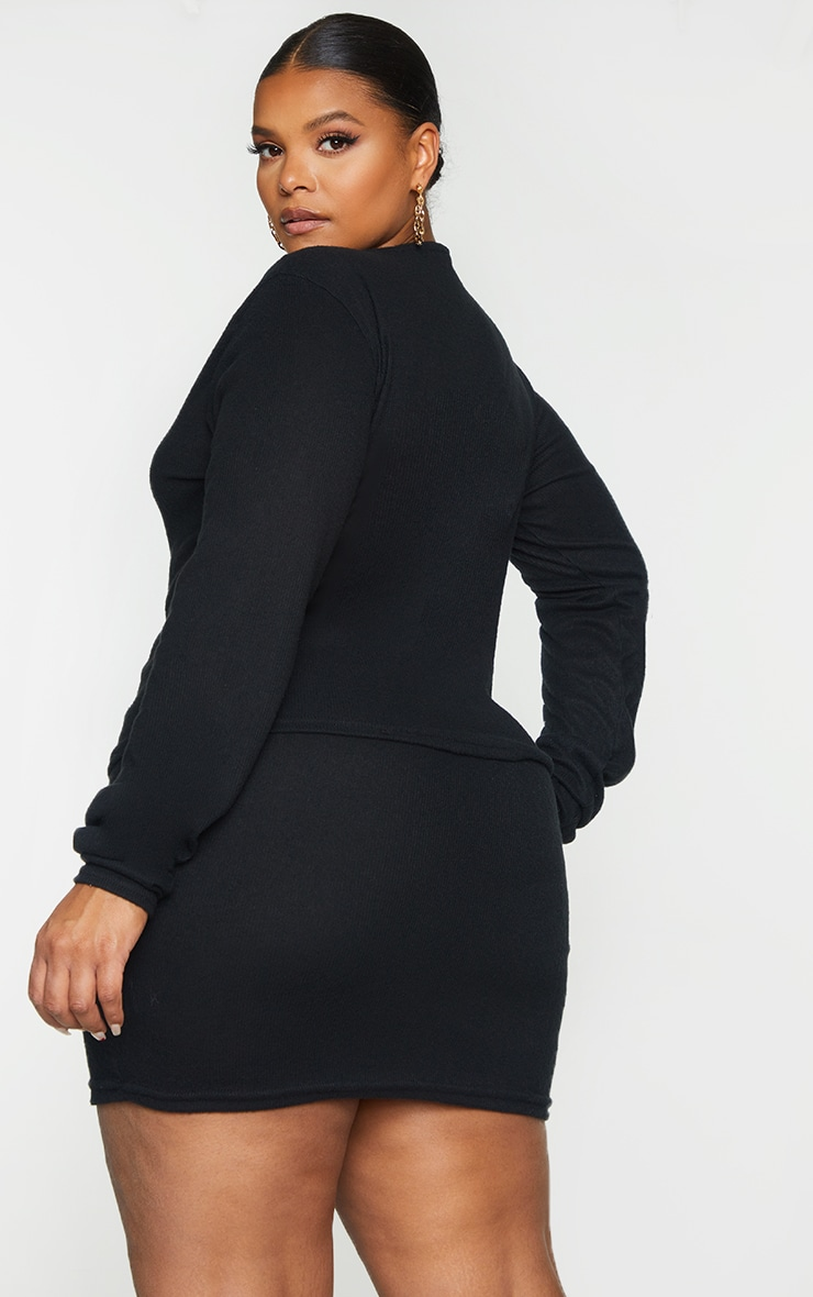 Plus Black Soft Brushed Rib Double Zip Front Top 2