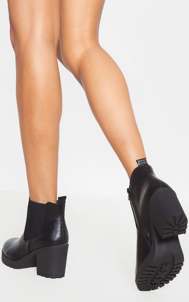 Black Cleated Chelsea Ankle Boots 2