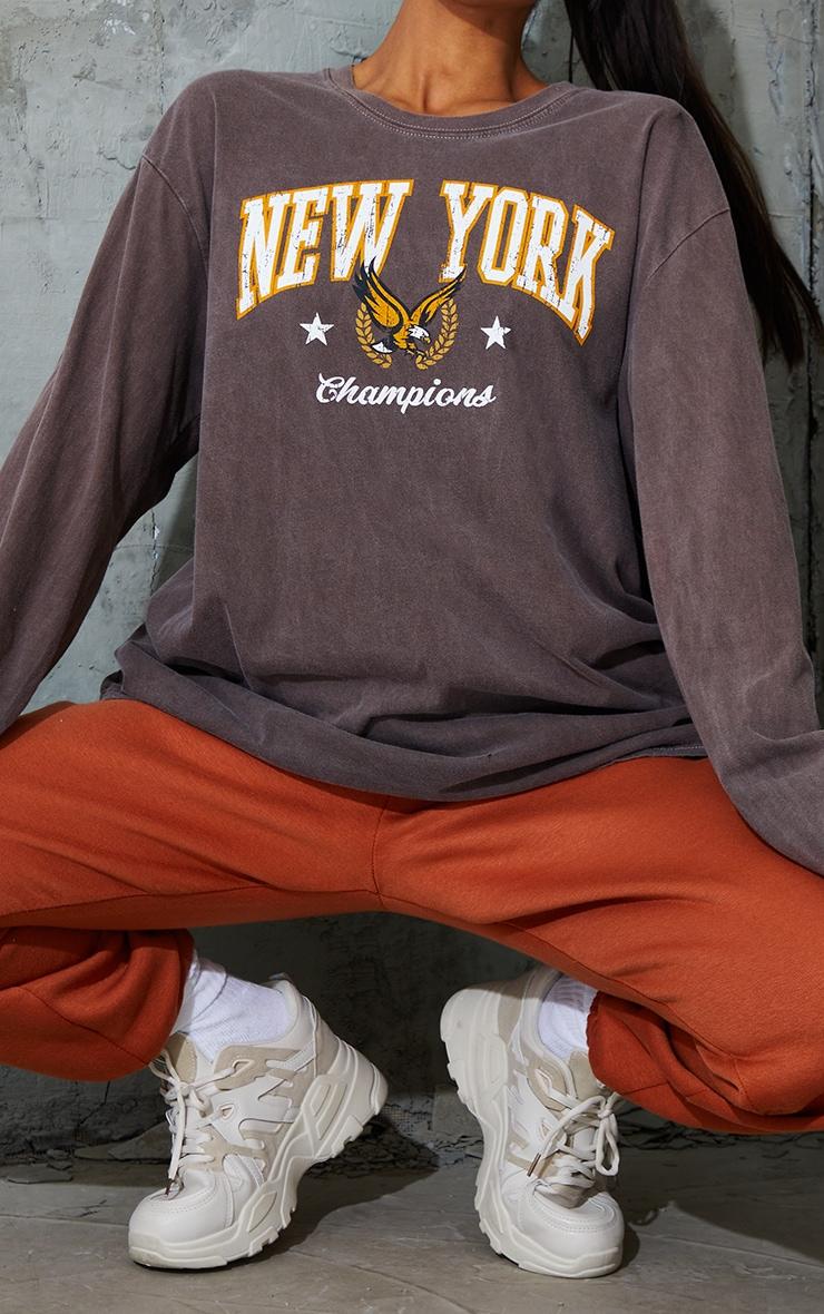 Chocolate New York Champion Washed Long Sleeve T Shirt 4