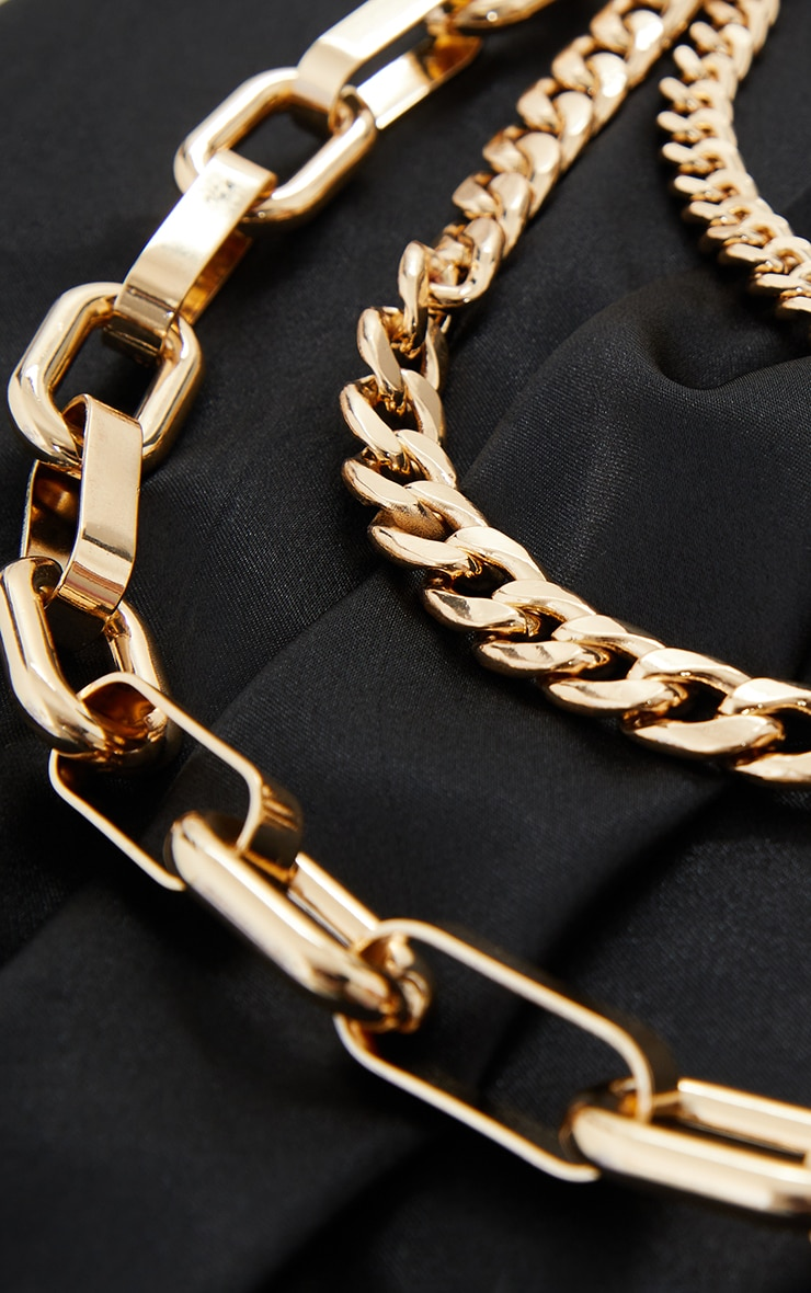 Gold Oversized Three Assorted Chain Statement Layering Necklace 3