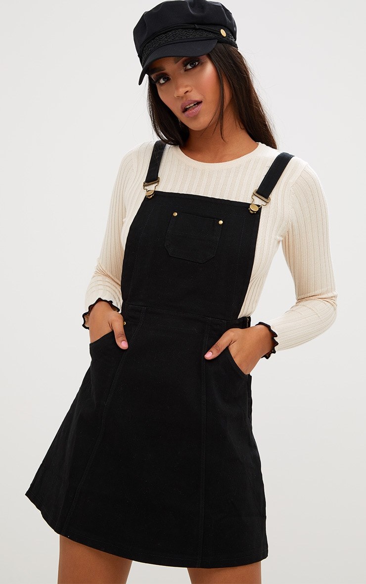 Martine Black Denim Pinafore Dress