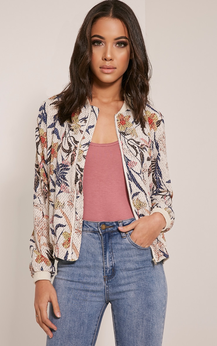Danyelle Beige Floral Abstract Printed Bomber Jacket 1