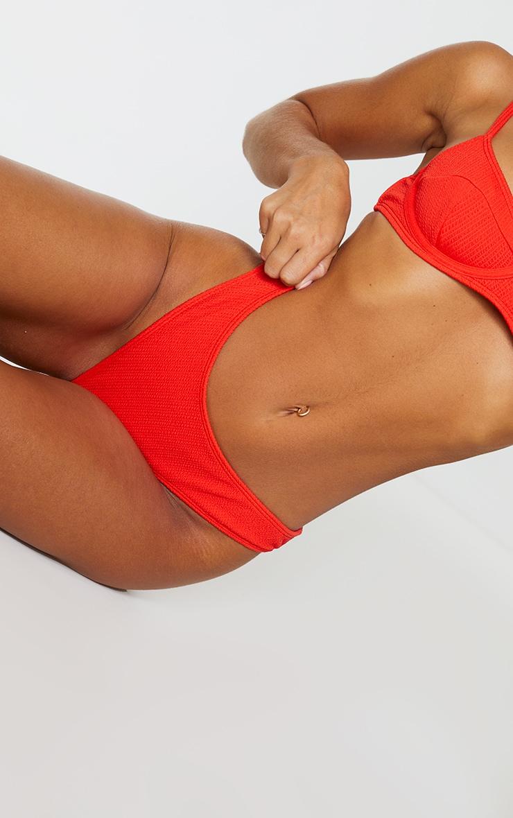 Bas de maillot de bain mini plissé rouge  5