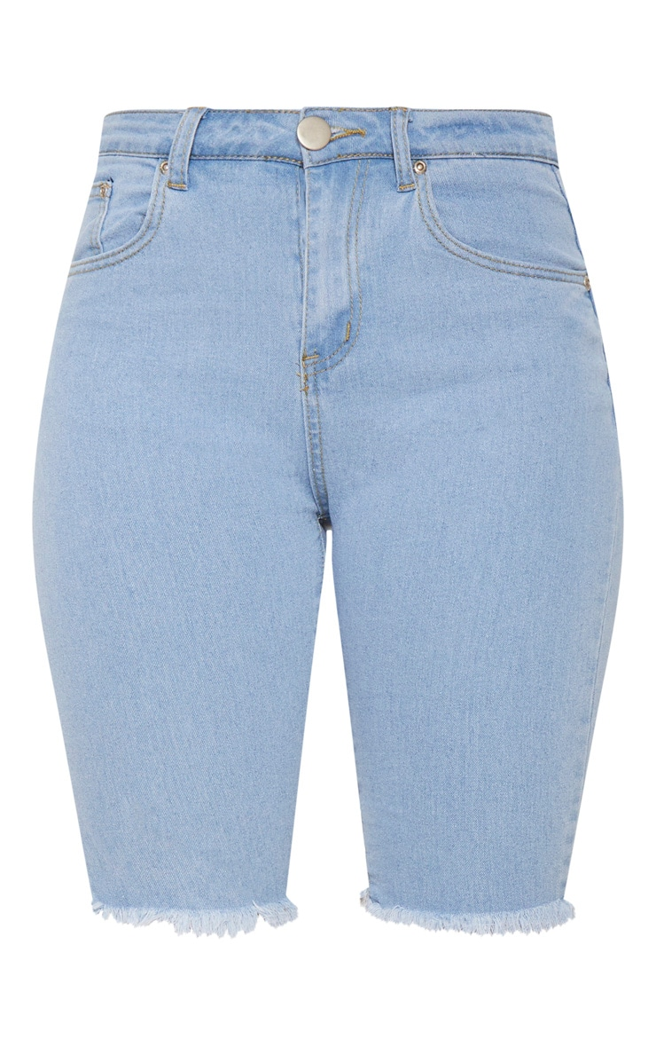 Short skinny mi-long en jean bleu clair  4