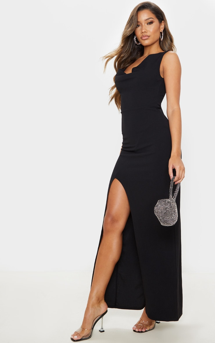Black Asymmetric Cowl Neck Maxi Dress 1