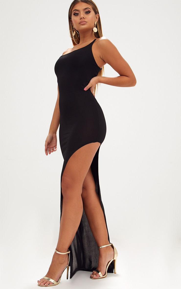 Black One Shoulder Asymmetric Maxi Dress 4
