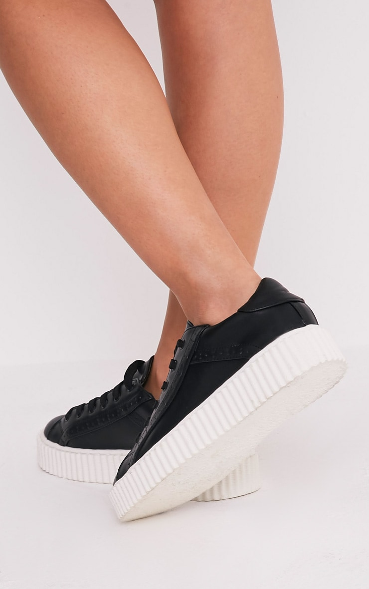 Lorena Black PU Creeper Trainers 3