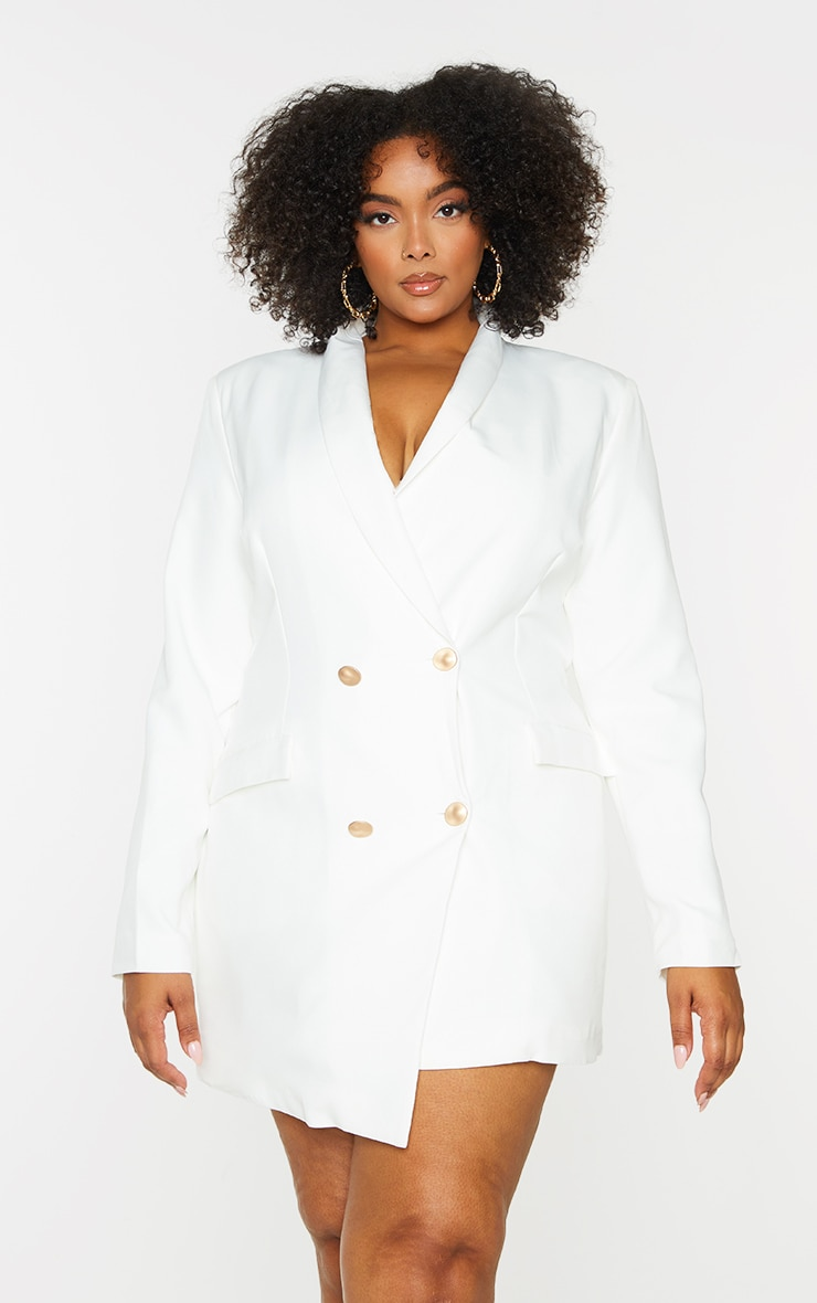 Plus White Gold Button Blazer Dress 1