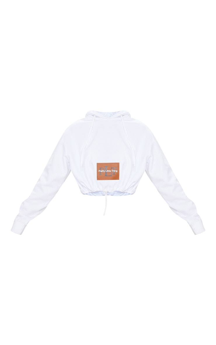PRETTYLITTLETHING White Pocket Toggle Crop Hoodie 4