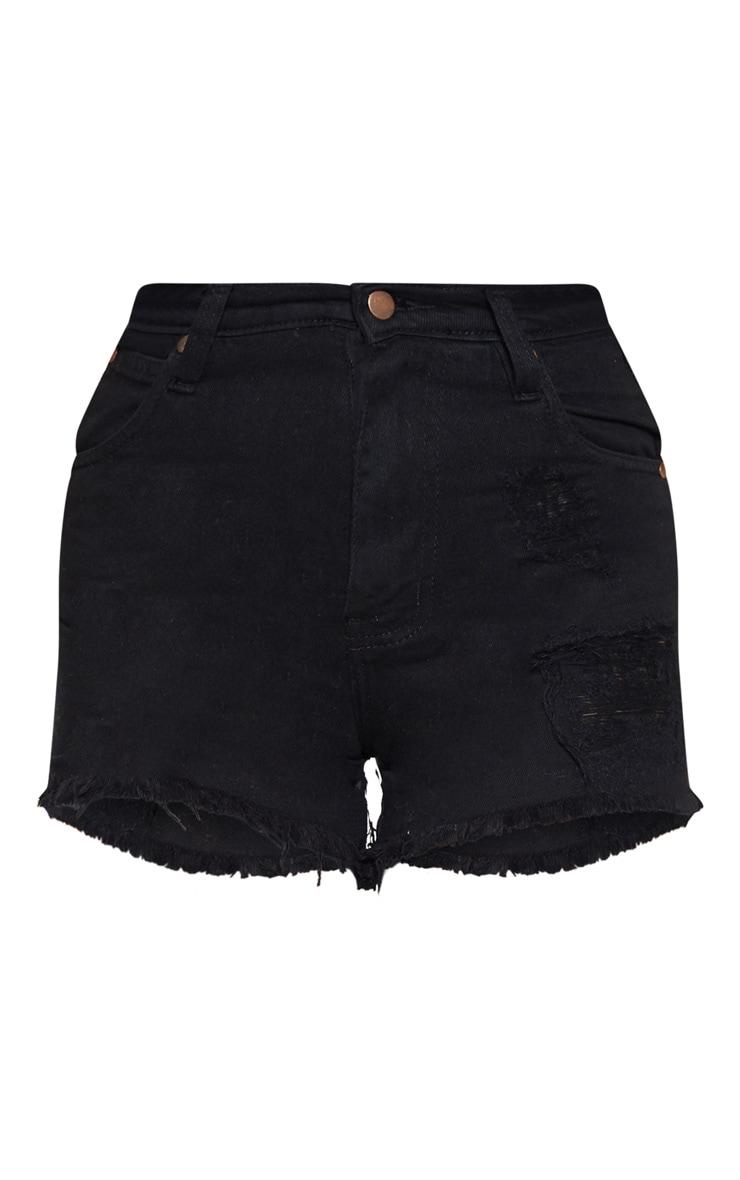 Petite Black High Waist Frayed Hem Distressed Denim Shorts 3