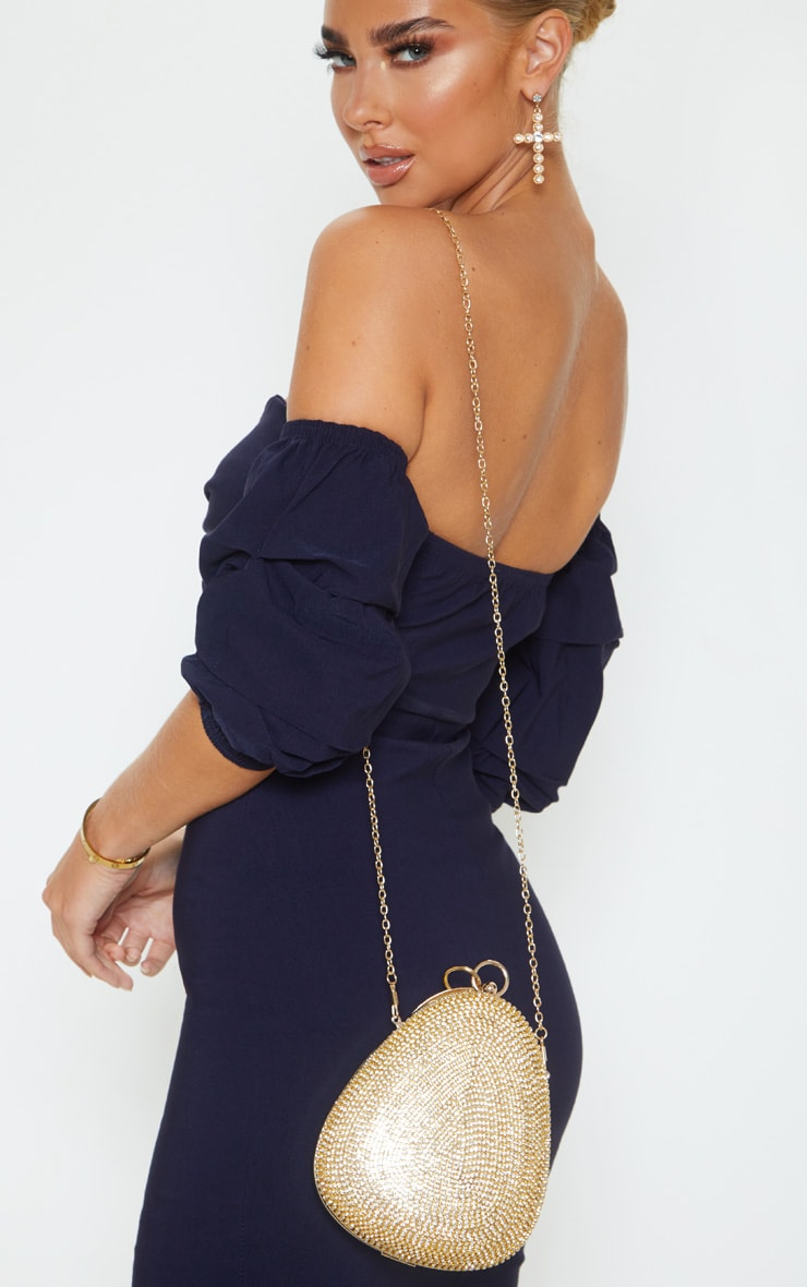 Gold Diamante Oval Bag 2