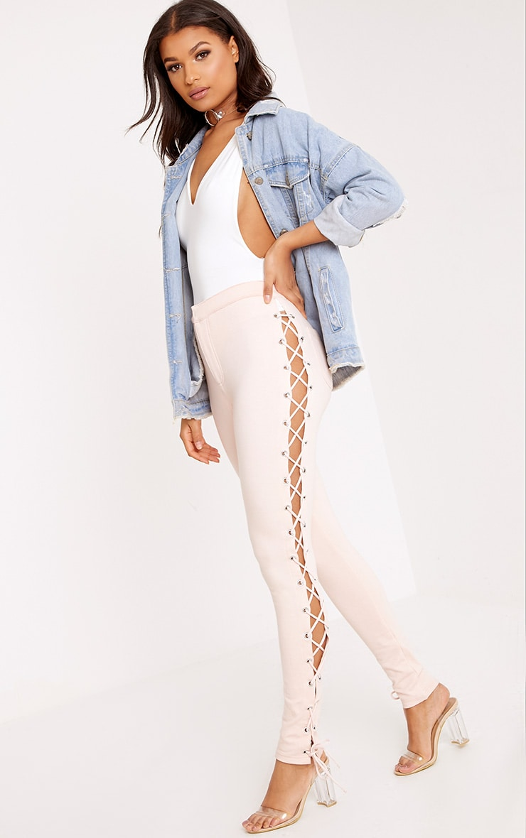 Lulu Blush Side Lace Up Skinny Trousers 1