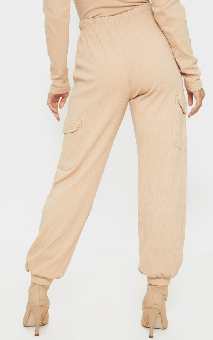 Petite Camel Cargo Detail Ribbed Track Pants 3