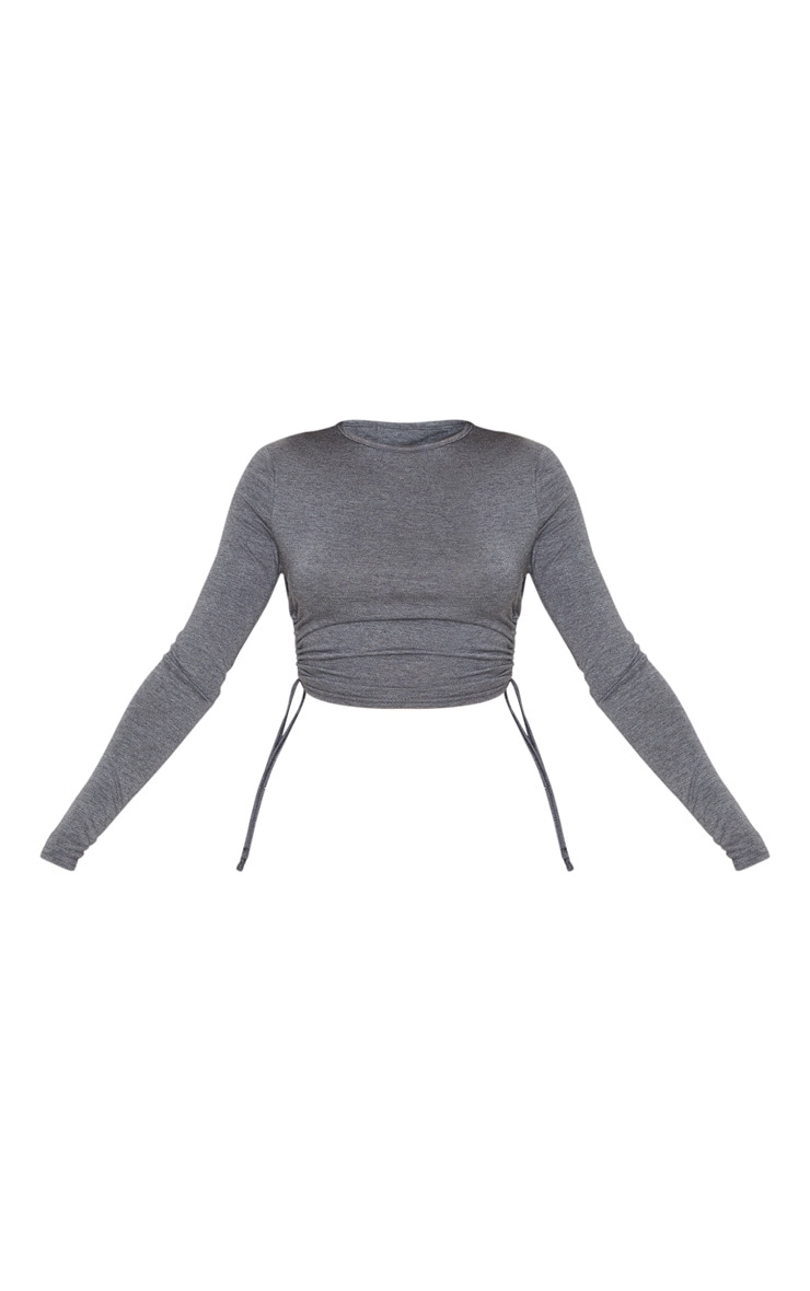 Charcoal Grey Jersey Ruched Side Long Sleeve Top 3