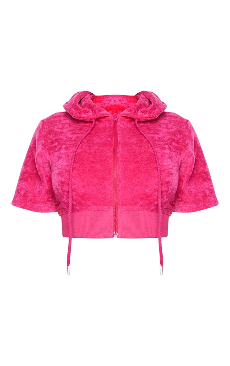 Shape Hot Pink Velour Short Sleeve Hoodie 5