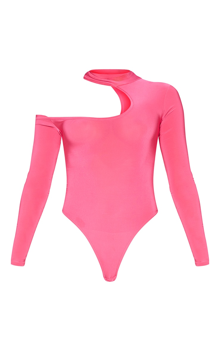 Hot Pink Slinky High Neck Cut Out Long Sleeve Bodysuit 5