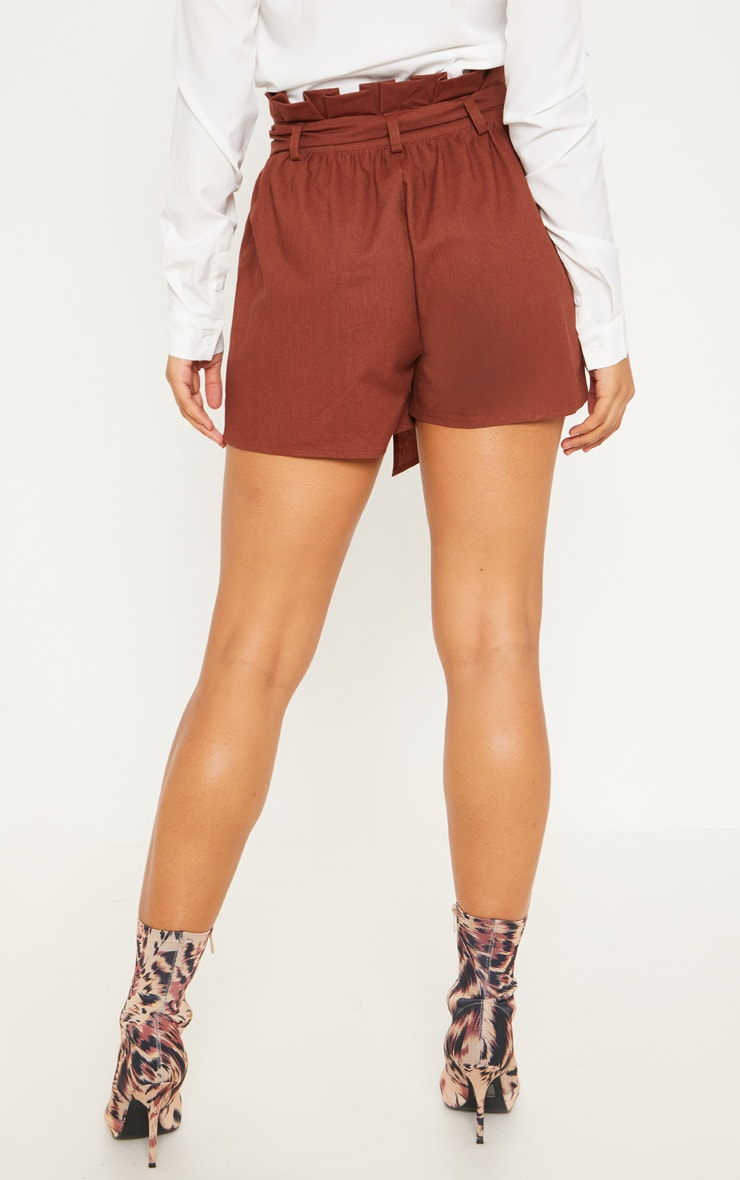Tall Chocolate Brown Paperbag Tie Waist Shorts 4