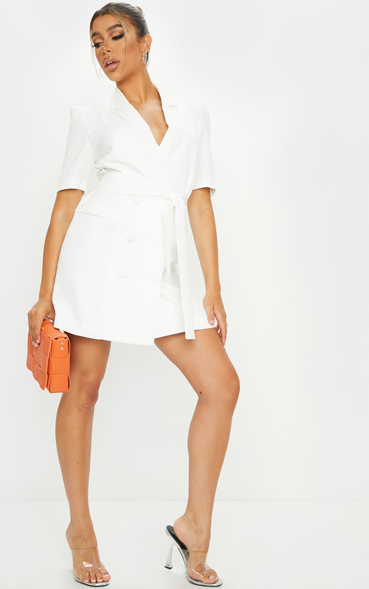 White Short Sleeve Tie Waist Blazer Dress 3