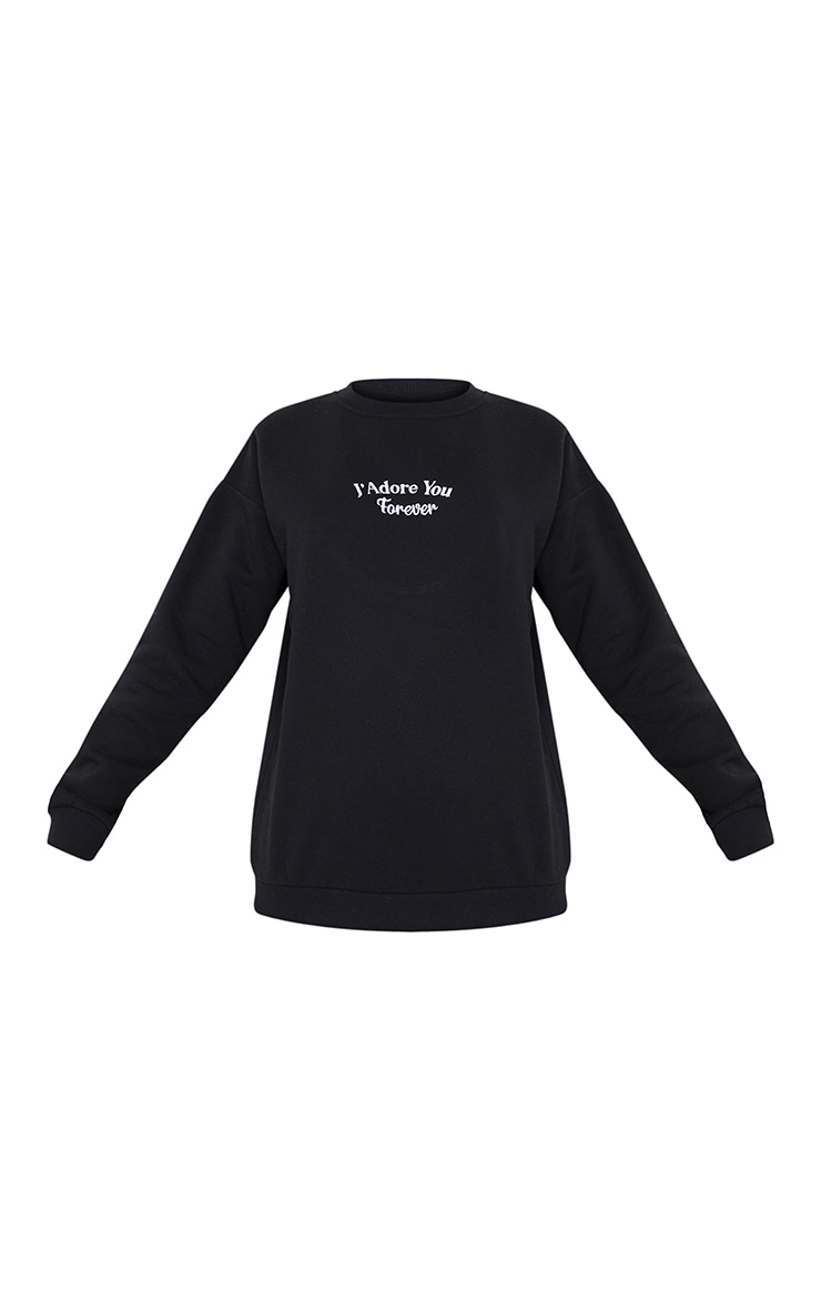 Black J'Adore You Slogan Embroidered Sweatshirt 5