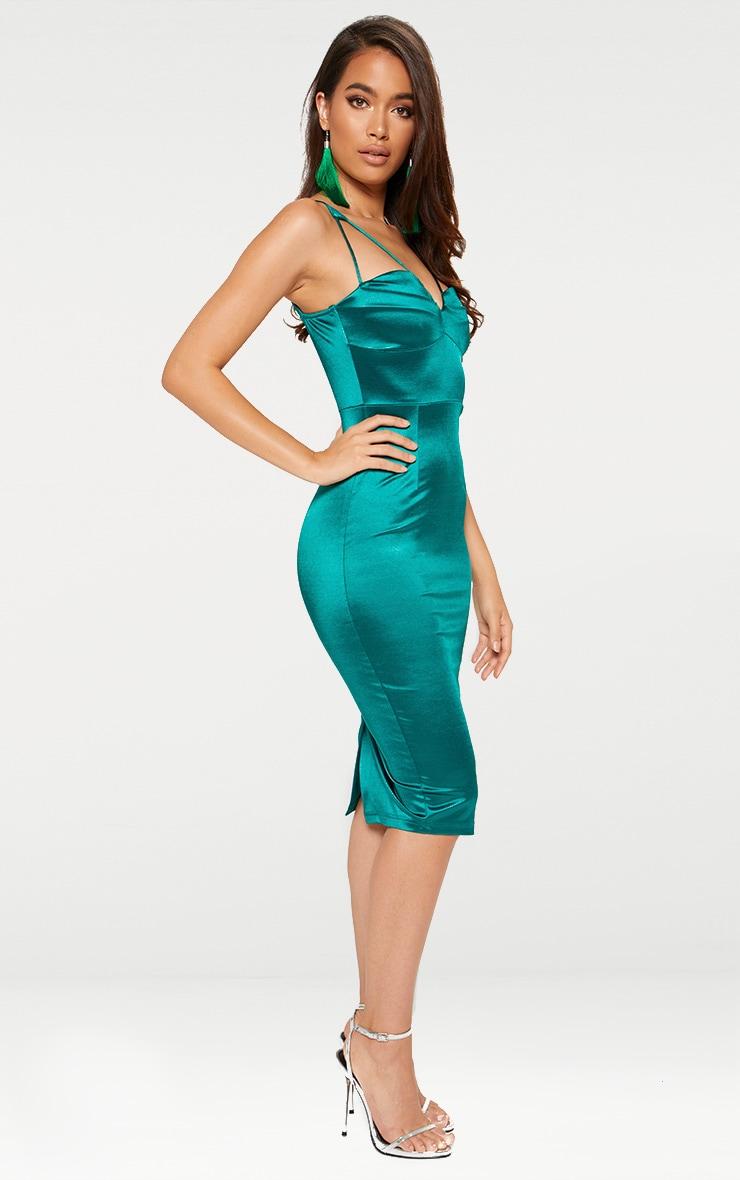 Emerald Green Strappy Folded Detail Midi Dress  3
