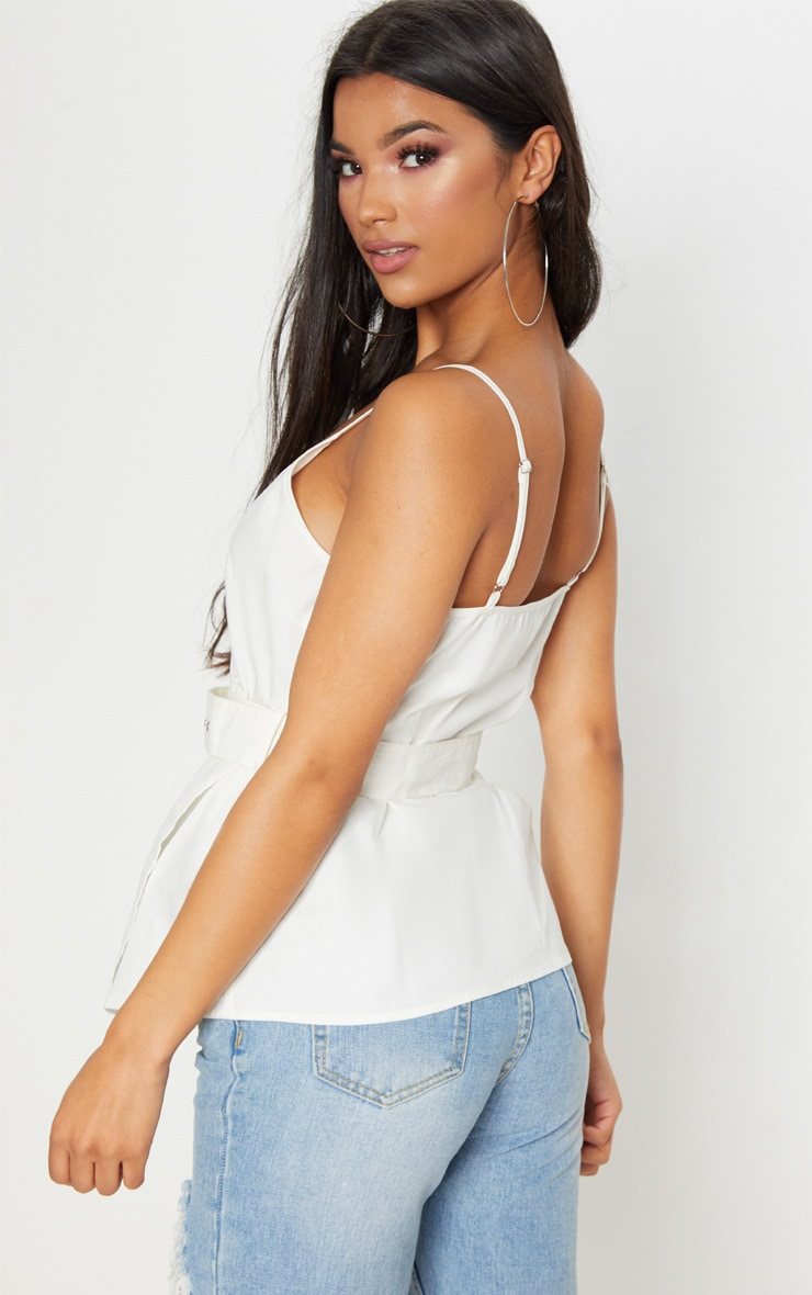 White Buckle Front Wrap Top Pretty Little Thing Largest Supplier Sale Online Discount Comfortable Clearance Low Shipping Fee Cheap Sale Footlocker Pictures Clearance 2018 Newest 1ffpN6