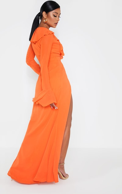 Bright Orange Plunge Frill Maxi Dress