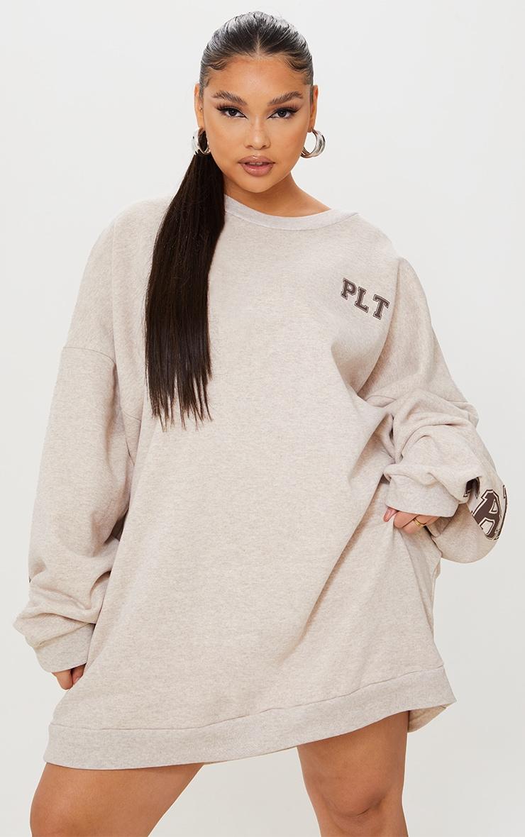 PRETTYLITTLETHING Plus Oatmeal Graphic Oversized Sweatshirt Dress 2