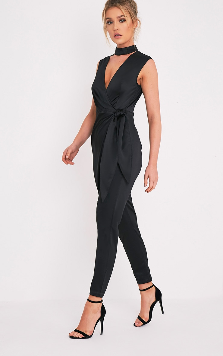 Carla Black Tie Side Choker Detail Satin Jumpsuit 1