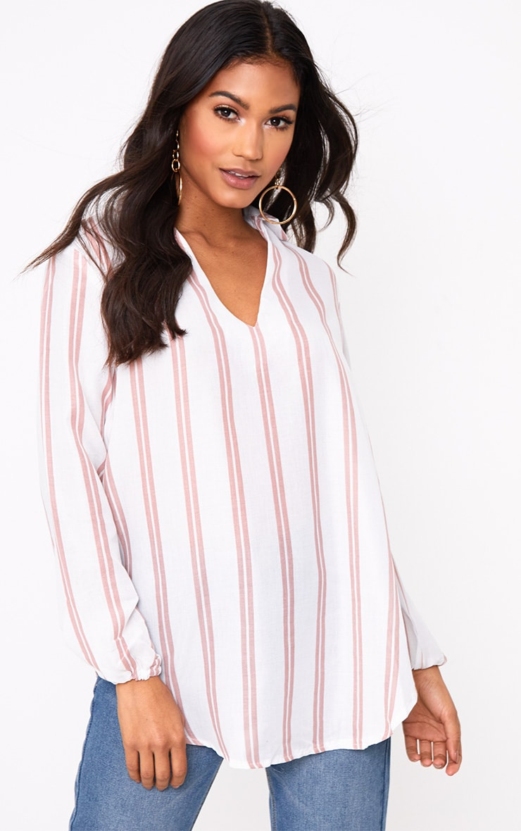 White Oversized Pink Stripe Shirt 1