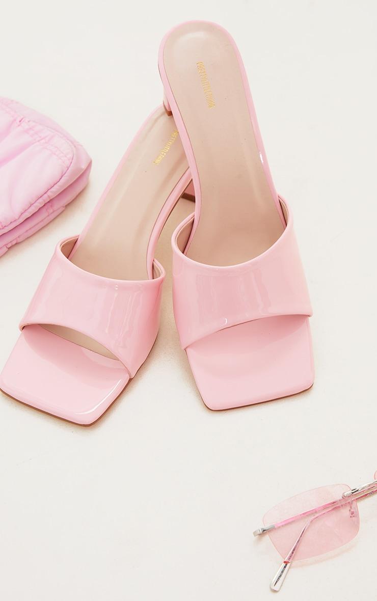 Pink PU Patent Square Toe Flat Heeled Mules 3