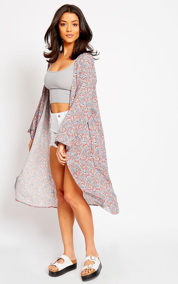 Leela Coral Paisley Print Kimono 4