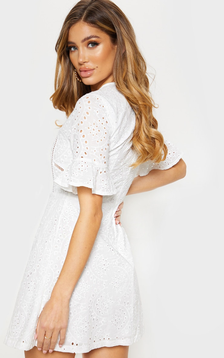 White Broderie Anglaise Frill Sleeve Skater Dress 2