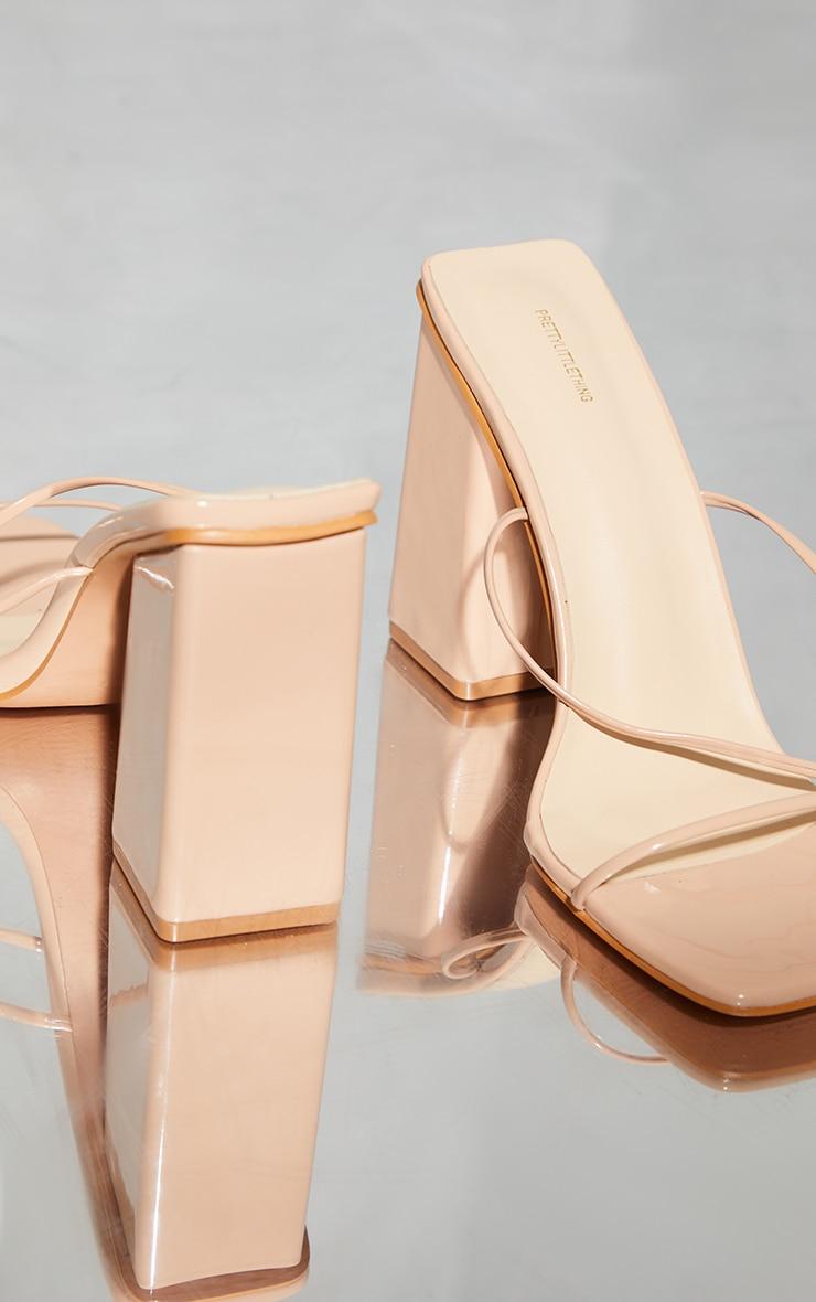 Nude Patent PU Strappy Block Heel Sandals 3