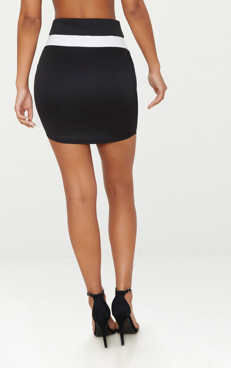 Black Scuba Contrast Panel Curve Hem Mini Skirt  4