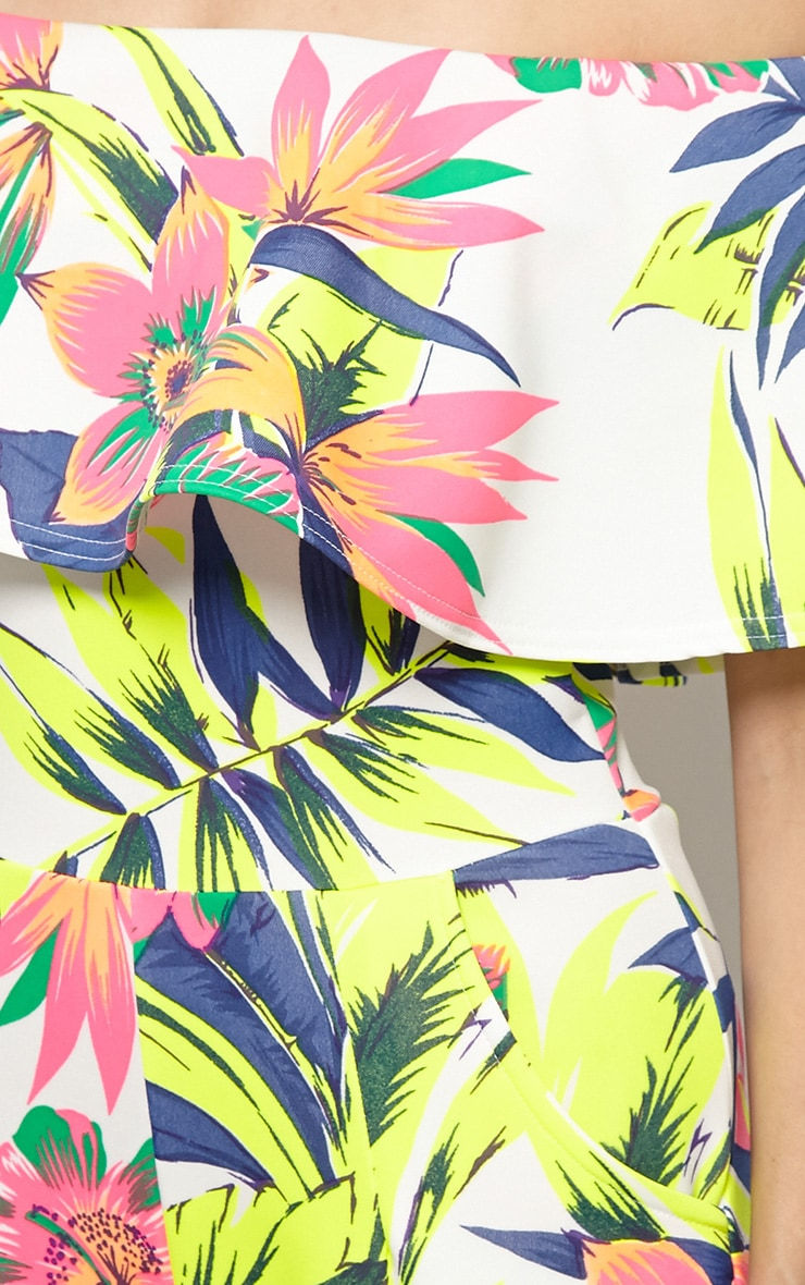 Skye Neon Tropical Print Frill Jumpsuit 5