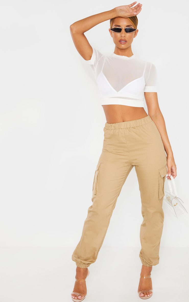 White Mesh Crew Neck Short Sleeve Crop Top 4