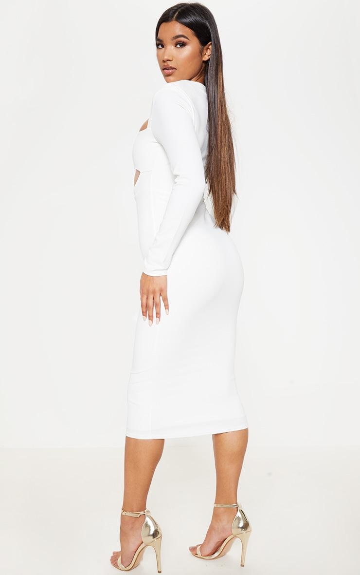 White Shoulder Pad Cut Out Midi Dress 2