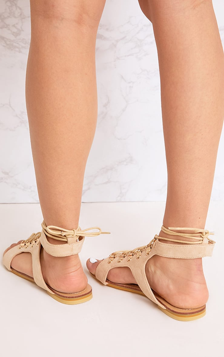 Nerina Nude Lace Up Gladiator Sandals 3