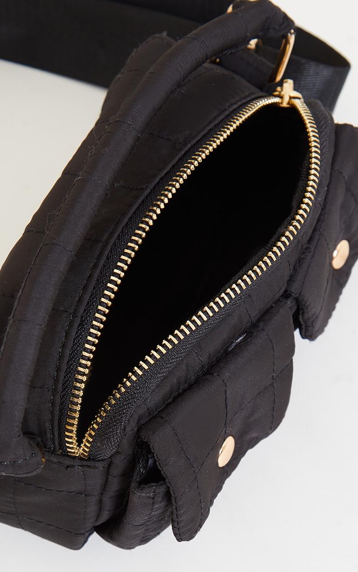 Black Pocket Quilted Cross Body Bag 3