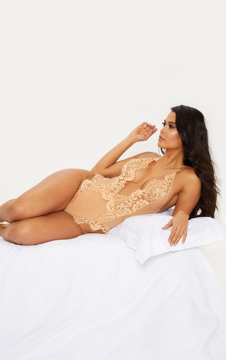 Nude Eyelash Lace Back Detailed Body 5