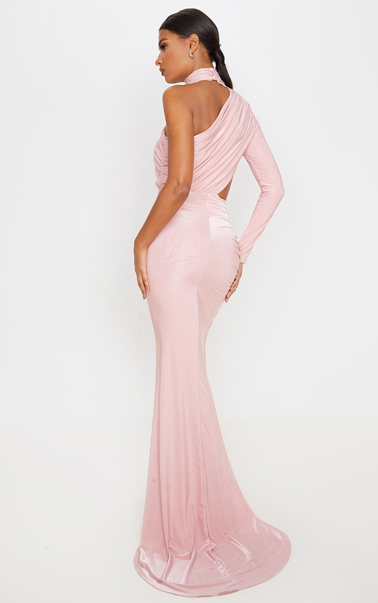 Baby Pink Ruched One Shoulder Maxi Dress 2