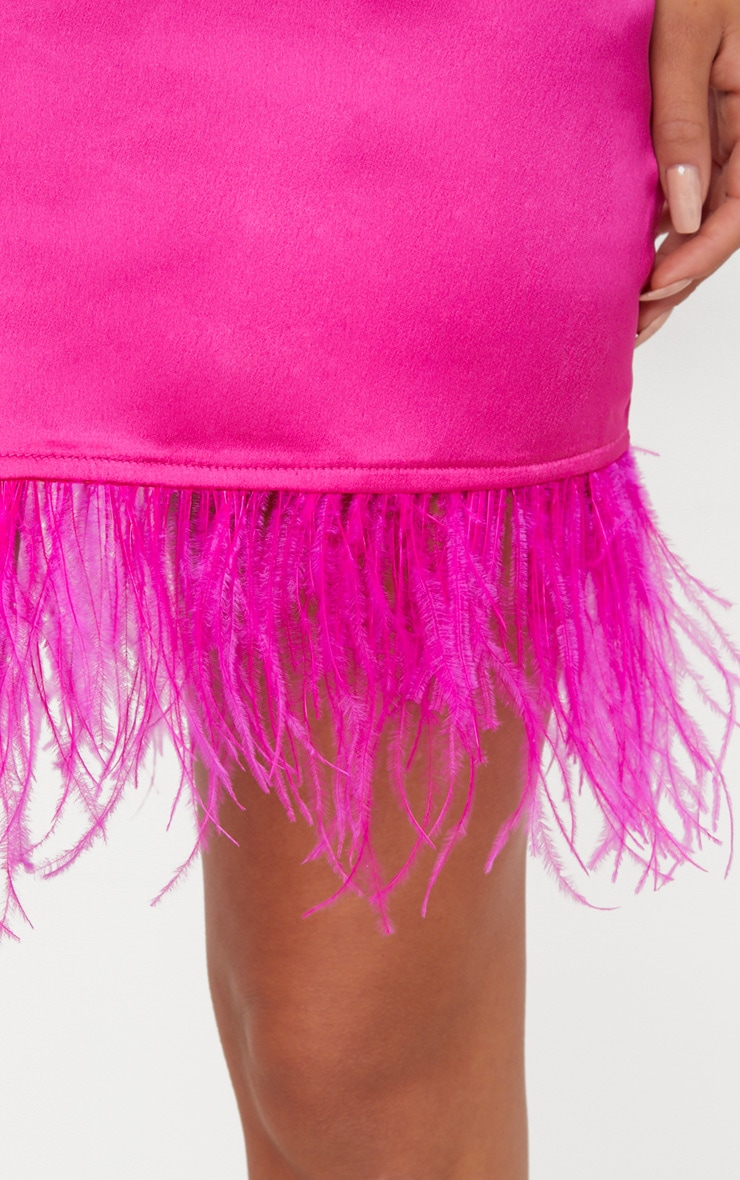 Fuchsia Feather Trim Satin Plunge Shift Dress  5