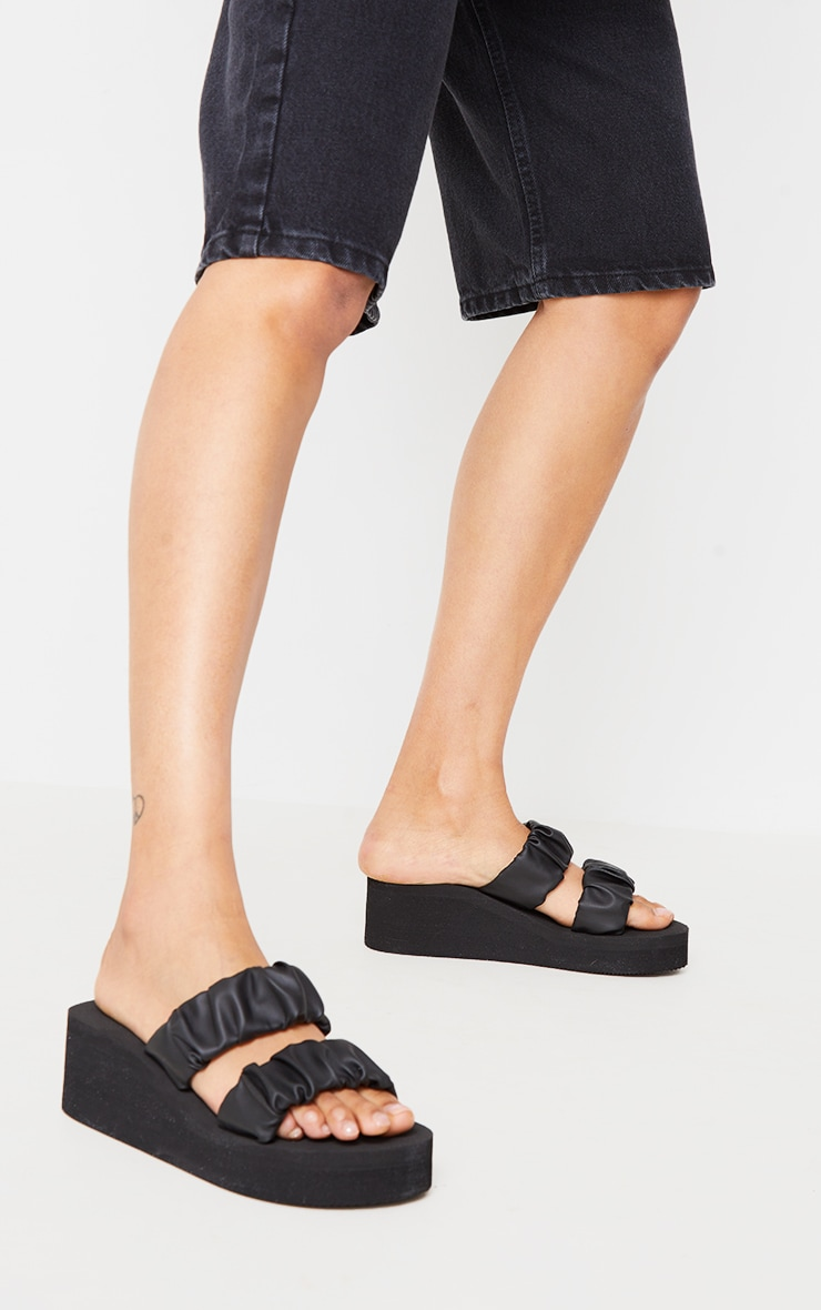 Black Ruffle Twin Strap Mule Wedges Sandals 2