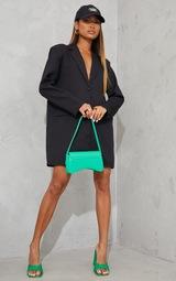 Black Long Sleeve Oversized Shoulder Pad Blazer Dress 1