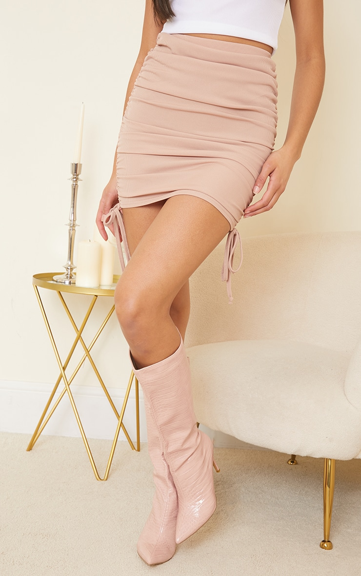 Stone Ribbed Ruched Mini Skirt 2