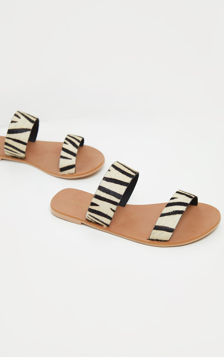 Zebra Twin Strap Basic Leather Sandal 3
