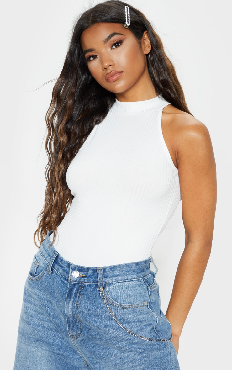 White High Neck Rib Sleeveless Bodysuit 5